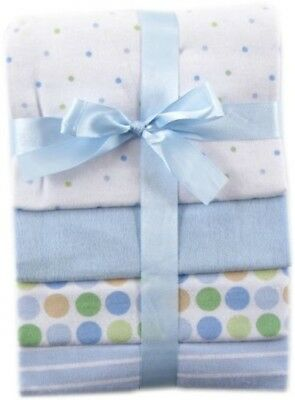 Luvable Friends 4-Pack Flannel Receiving Blankets, Blue, New, Free Shipping
