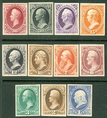 USA : 1873. Scott #156P4-166P4 A VF, Fresh Complete set of Plate Proofs on cards