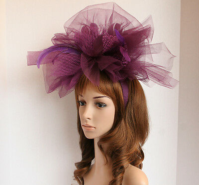 New Church Kentucky Derby Luxurious Fascinator w Feathers Coctail hat Purple