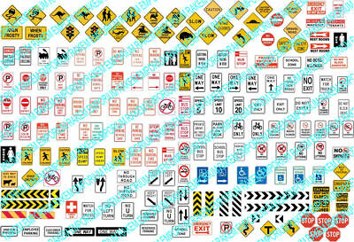 N Scale Road Traffic Signs, Aussie Traffic Signs 173 Signs - NTS1