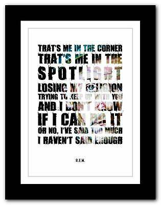 R.E.M.- Losing My Religion ❤ song lyrics typography poster art print - athiest