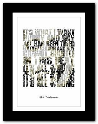 R.E.M.- Pretty Persuasion  ❤ song lyrics typography poster art print - A1 A2 A3