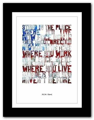 ❤ R.E.M.- Stand ❤ song lyrics typography poster art print - A1 A2 A3 or A4