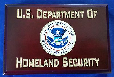 "US Department of Homeland Security w Eagle Emblem Walnut Wood 4""X6""X3/4"" Sign"