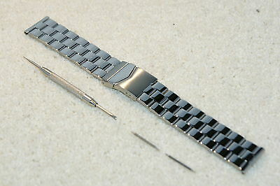 Polished Stainless Steel Watch Strap Deployment Clasp 18-20-22mm Bars and Tool