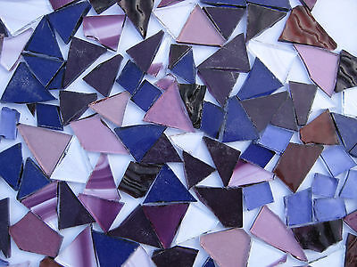 """""""100g - MIXED PURPLE"""" Handcut Stained Glass for MOSAIC & Glass Crafts"""