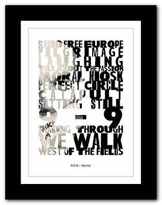 ❤  R.E.M - Murmur ❤ typography poster art print - A1 A2 A3 or A4