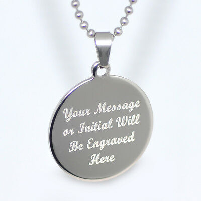 Personalized Stainless Steel Round Circle Pendant Necklace Free Engraving