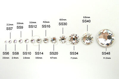 Clear Swarovski Crystals Gems 2058 flat back No Hot Fix / all sizes Foiled
