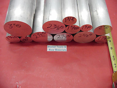 "12 Piece ALUMINUM SOLID ROUND ASSORTMENT 1-1/4"" to 3"" 6061 Bar Combo Pack #31.88"