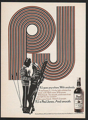 1970 PAUL JONES American Blended Whisky - P.J. Goes Anywhere - Ski -  VINTAGE AD