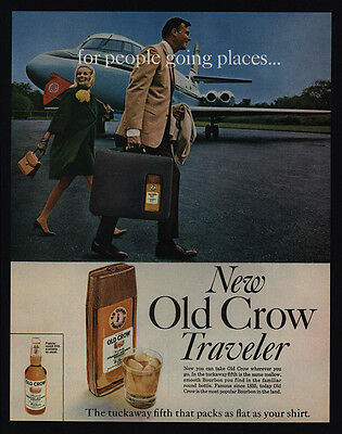 1967 OLD CROW Traveler Tuckaway 5th Bourbon - Jet - Airport Tarmac - VINTAGE AD