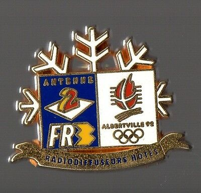 Pin's antenne 2 / FR3 radiodiffuseurs hotes jeux olympiques Albertville 92