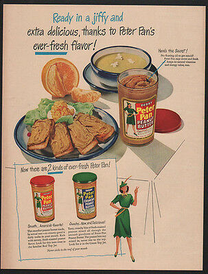 1949 PETER PAN Peanut Butter- Ready In A Jiffy - Sandwich -  VINTAGE AD