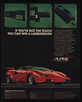 1985 ALPINE CAR CELLULAR CELL PHONE - STEREO - Red LAMBORGHINI Car - VINTAGE AD
