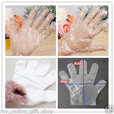 100 Disposable Plastic Gloves Clear Cleaning Glove Food Handling Safe Catering