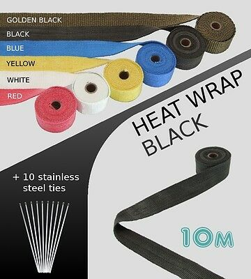 UNIVERSAL MOTORBIKE CAR EXHAUST HEAT WRAP with ties - 10 METRE - BLACK - 10M-B