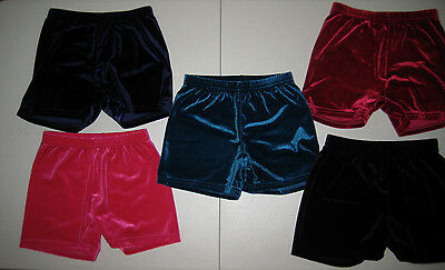 Girls Shorts Dance Sports Gymnastics Booty Bike Velvet Jewel Colors Sizes 3-16