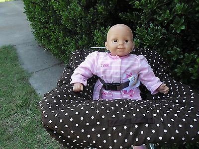 Brown with pink dots shopping cart cover/high cover-handmade