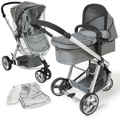Pram travel system 3 in 1 combi stroller buggy baby child jogger push chair grey