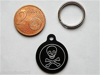 MEDAILLE GRAVEE RONDE PIRATE CORSAIRE CHATON CHAT collier medalla cane katze