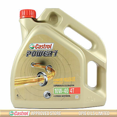 Castrol Power 1 4T 10w-40 Motorcycle 4 Stroke Engine Oil 10W40 4 Litres 4L