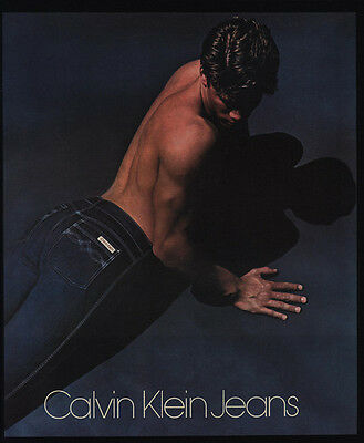 1981  CALVIN KLEIN Jeans - Shirtless Man - Male Model's Butt -  VINTAGE AD