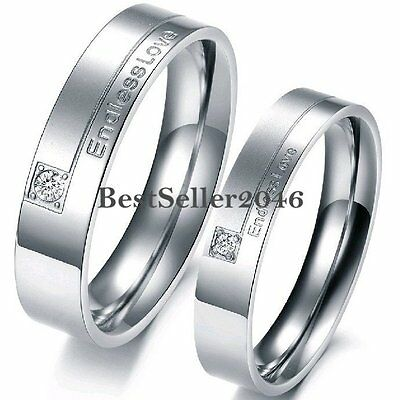 """"""" Endless Love """" Stainless Steel Wedding Band Couples Engagement Promise Ring"""
