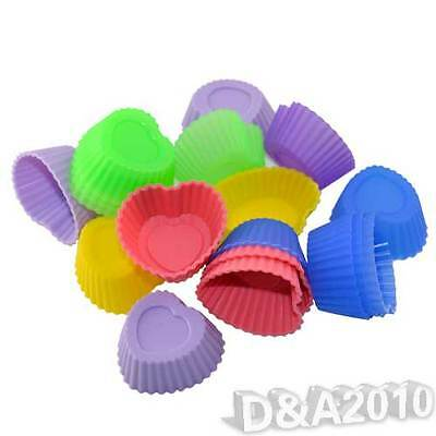10X Heart Shape Silicone Soap Chocolate Mould Candy Muffin Cup Cake Baking Molds