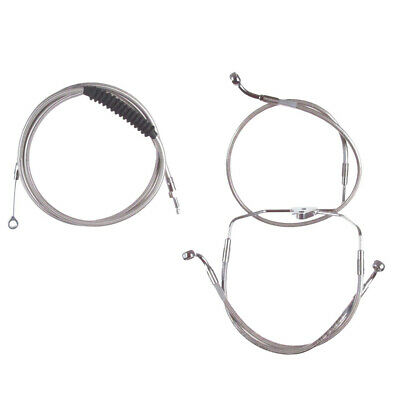 """Stainless +8"""" Cable & Brake Line Bsc Kit 2014-2016 Harley Road King No ABS"""