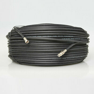 50m Black RG6 Satellite Coax Extension Cable Coaxial Lead 4 Sky Plus HD TV