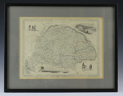 Map of Hungary - Drawn and Engraved by John Rapkin 1851 , Framed