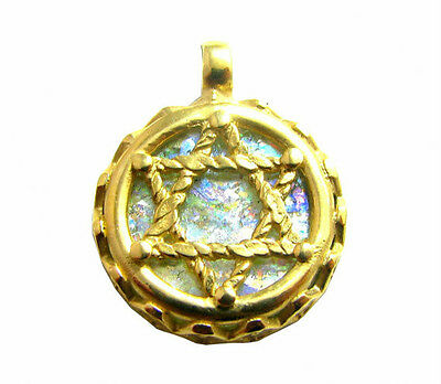 Stunning 14k Gold roman Glass Star of David Pendant Necklace