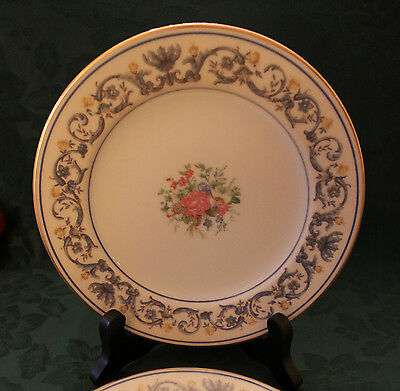 Two Charles Ahrenfeltd Limoges Suzanne Pattern Salad Plates with Blue/Yellow Bor