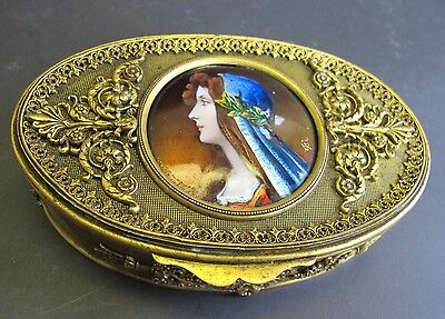 Superb 19th C. French Gilt Bronze Box w/ Enamel Plaque  c. 1900  antique