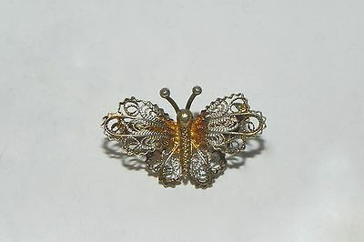 Vintage Spun Filigree Butterfly Pin Brooch 800 Silver Gold Tones Made in Italy