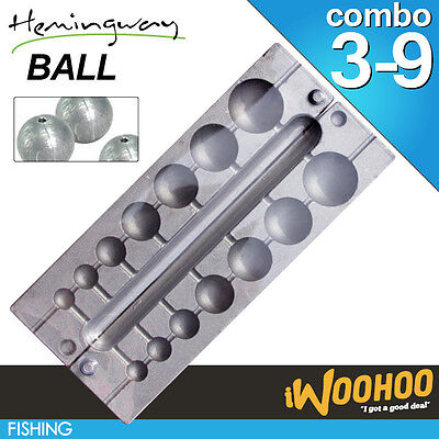 Ball Sinker Mould Combo Mix Size - Hemingway High Lead Mold Fishing Sinkers DIY