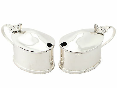 Pair of Scottish Sterling Silver Mustard Pots Antique George V