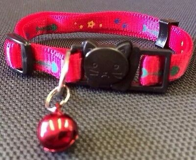 Cat Kitten Collar RED Safety Collar Quick Release Soft Bell Stars Fishes Paws