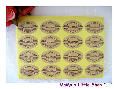 """32 Lovely Ellipse """"Hand Made"""" Stickers/Labels for Home Baking/Gift Wrapping"""