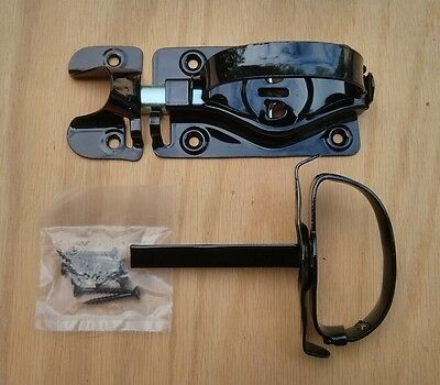 Whitcomb Barn Door Latch for Swinging Door, Shed Black Latch with D-Handle