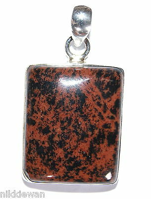 Sterling Silver Square Mahogany Obsidian Pendant Jewellery No.3109