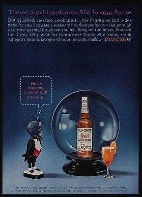 1965 OLD CROW Bourbon Whiskey - Crow - Turbin - Crystal Ball - VINTAGE AD