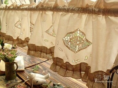 ANTIQUE Tea Stained Crochet Window Valance-BURLAP BOWS Shabby Chic ...
