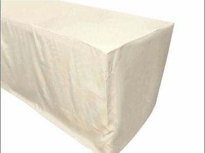 6' ft. Fitted Polyester Tablecloth Trade show Booth banquet Dj Table Cover Ivory