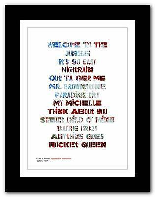 Guns N' Roses - Appetite For Destruction ❤ typography poster art print A3 A2 A1