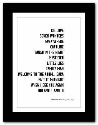 ❤ FLEETWOOD MAC - Tango In The Night ❤ typography poster art print - A3 A2 A1 A4