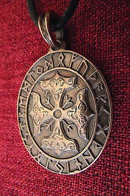 Thors Hammer Pendant Thor's Cross Runes Norse Amulet Viking Copper Oval Necklace