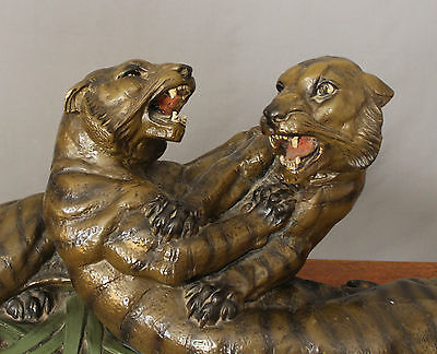 Victorian Cast Sculpture Fighting Tigers