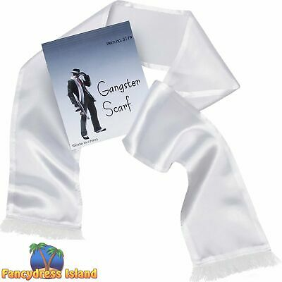 20s WHITE GANGSTER MOB SCARF Mens Fancy Dress Costume Accessory